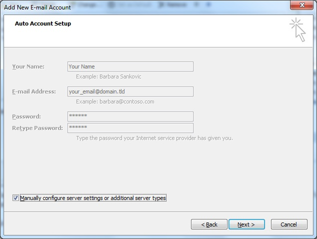 Outlook client configuration for qmailrocks - screenshot 2