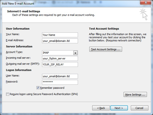 Outlook client configuration for qmailrocks - IMAP