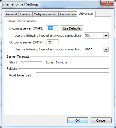 Outlook client configuration for qmailrocks - IMAPS