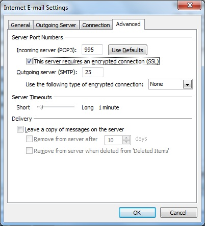 Outlook client configuration for qmailrocks - POP3-SSL