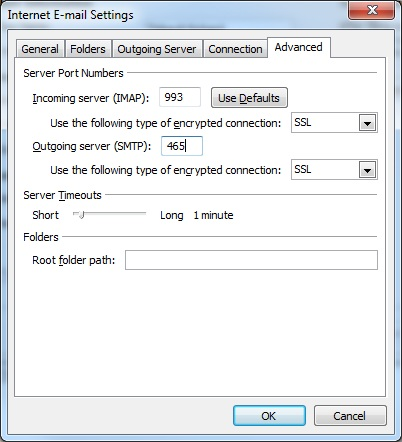 Outlook client configuration for qmailrocks - SMTP TLS authentication